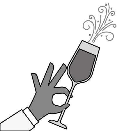 Hand hält Champagner Glas Cheers Feier Vektor-Illustration Standard-Bild - 90132309