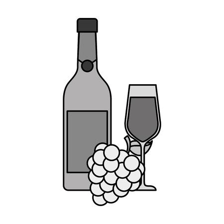 병 샴페인이나 와인 및 포도 축하에 대 한 벡터 일러스트와 함께 유리 일러스트