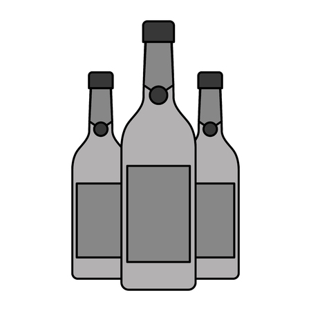 three champagne bottles drink beverage event christmas vector illustration