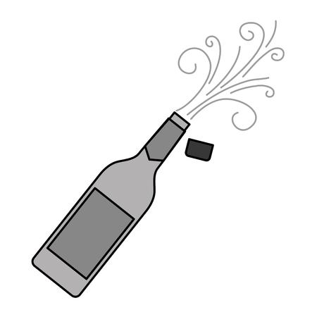 champagne bottle cork explosion drink celebration vector illustration Illustration