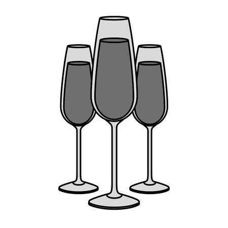 three glasses with champagne alcohol liquid celebration vector illustration Фото со стока - 90132339