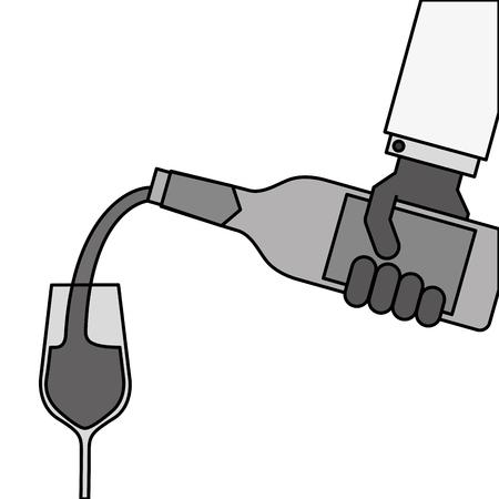 ワインのボトルを押しながらワイン ベクトル イラストのメガネを注いで給仕の手 写真素材 - 90132341