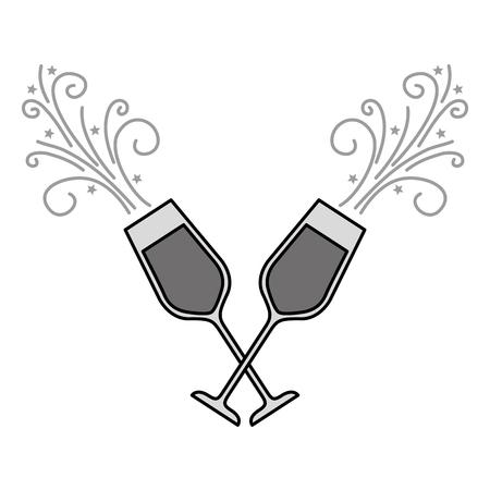 Paar Champagner Glas Prost Getränke funkeln Vektor-Illustration Standard-Bild - 90132342