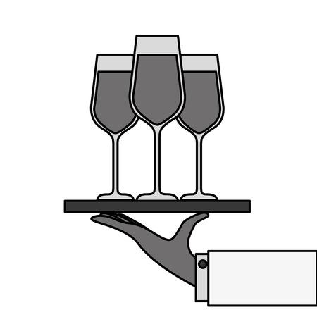 Bandeja de mano con vino champán ilustración vectorial de servicio de vino Foto de archivo - 90132345