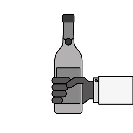holding a bottle of wine or champagne drink vector illustration Illusztráció