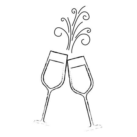 Paar Champagner Glas Prost Getränke funkeln Vektor-Illustration Standard-Bild - 90132349