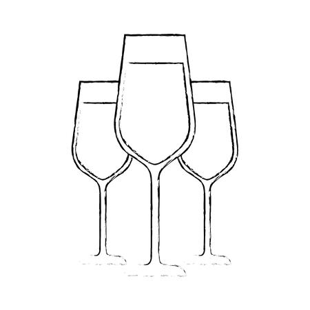 three glasses with champagne alcohol liquid celebration vector illustration Illustration