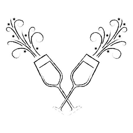 Paar Champagner Glas Prost Getränke funkeln Vektor-Illustration Standard-Bild - 90132362