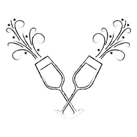pair of champagne glass cheers drink sparkles vector illustration Stock Vector - 90132362