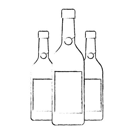 three champagne bottles drink beverage event christmas vector illustration Stock Vector - 90132364