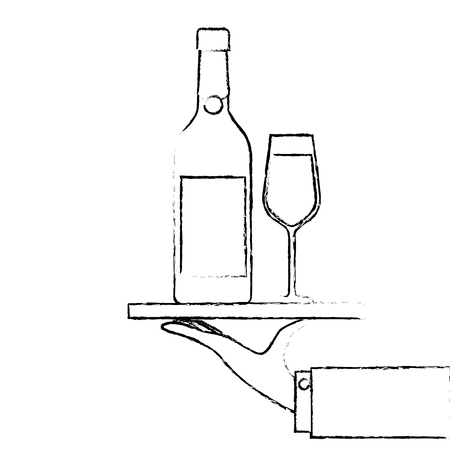 waiter hand holding tray with bottle glass of champagne for service vector illustration