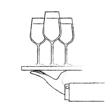 Bandeja de mano con vino champán ilustración vectorial de servicio de vino Foto de archivo - 90132371