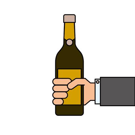 와인 또는 샴페인 음료 한 병을 들고 벡터 일러스트 레이 션 일러스트