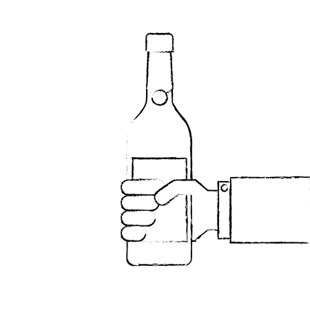 holding a bottle of wine or champagne drink 向量圖像