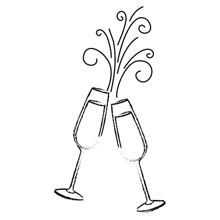 pair of champagne glass cheers drink sparkles vector illustration Stok Fotoğraf - 90132422