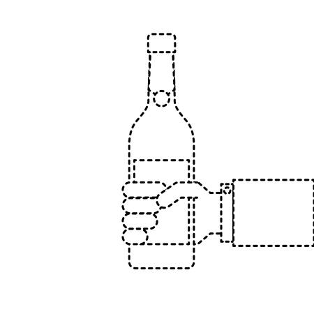 met een fles wijn of champagne drinken
