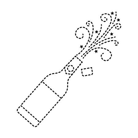 champagne bottle cork explosion drink celebration vector illustration Çizim