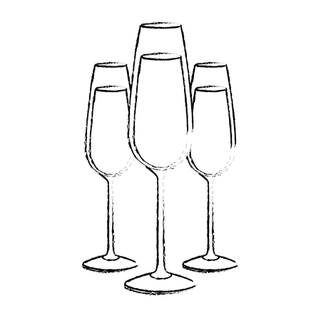 three glasses with champagne alcohol liquid celebration vector illustration Фото со стока - 90133487