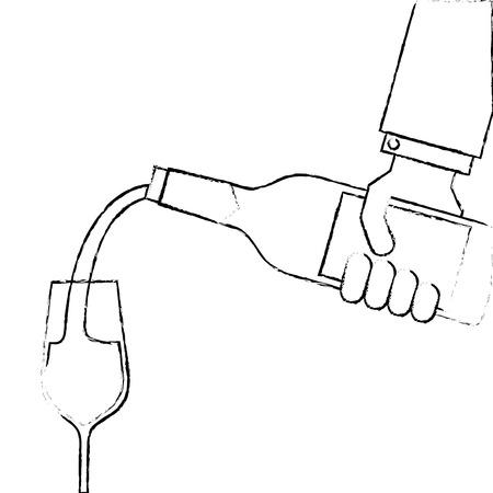 ワインのボトルを押しながらワイン ベクトル イラストのメガネを注いで給仕の手 写真素材 - 90132558