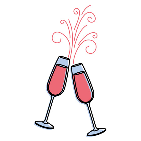 Paar Champagner Glas Prost Getränke funkeln Vektor-Illustration Standard-Bild - 90133510