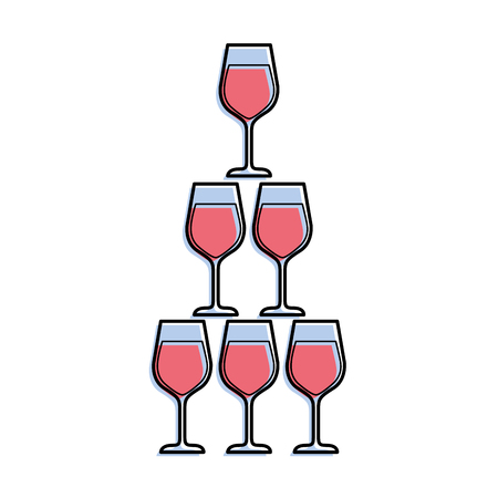 piramide van glas fluit drinkbekers alcoholhoudende champagne drankje vector illustratie Stock Illustratie