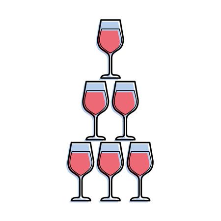 Pyramide der Glasflöte becher alkoholischer Champagnergetränk vector Illustration Standard-Bild - 90132564