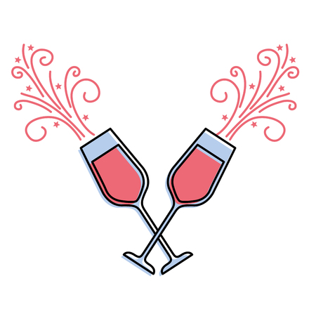 Paar Champagner Glas Prost Getränke funkeln Vektor-Illustration Standard-Bild - 90132570