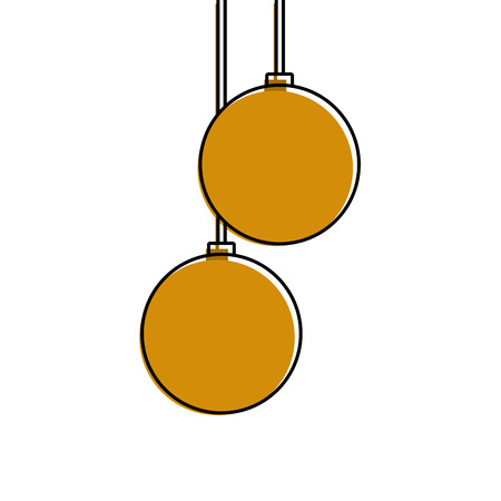 christmas balls hanging decoration elegance vector illustration Stock Vector - 90132637