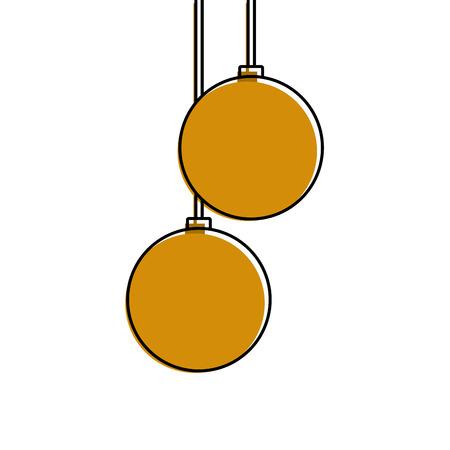 christmas balls hanging decoration elegance vector illustration