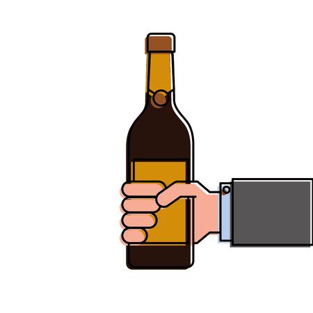 een fles wijn of champagne drinken Stock Illustratie