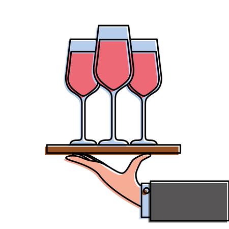 mano sosteniendo la bandeja con la ilustración de vector de champagne vino servicio