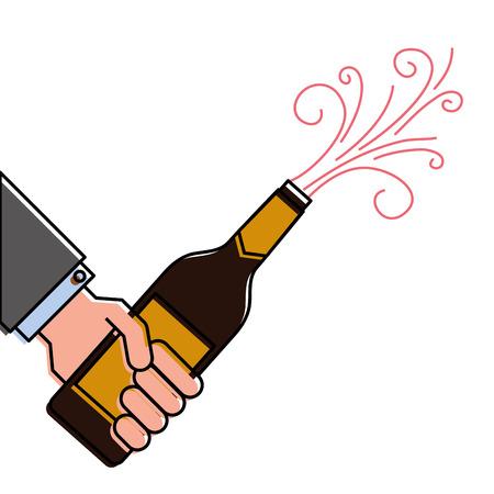 Hand hält Champagner-Flasche Explosion Veranstaltung Vektor-Illustration Standard-Bild - 90132642