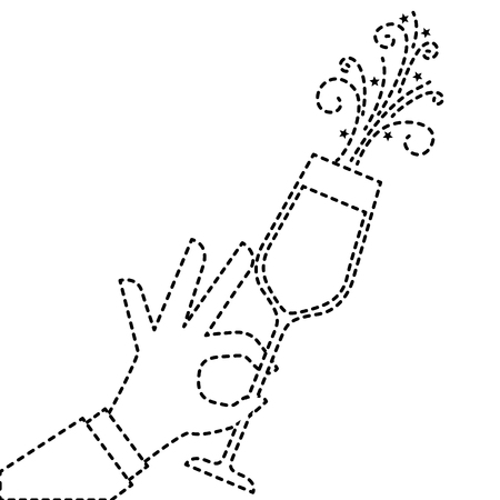 Mano que sostiene el champán de fiesta de cumpleaños ilustración vectorial celebración Foto de archivo - 90132646