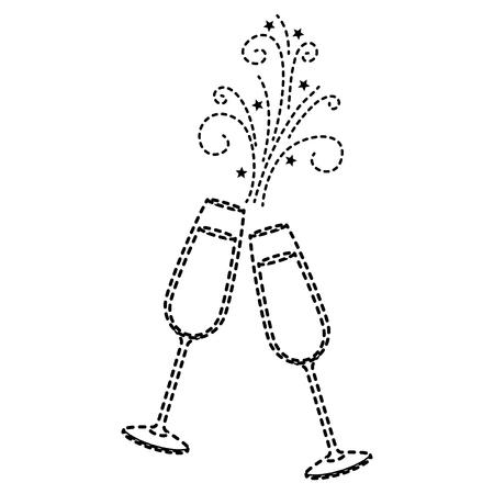 Coppia di bicchieri di champagne acclamazioni bevanda scintilla illustrazione vettoriale Archivio Fotografico - 90132648