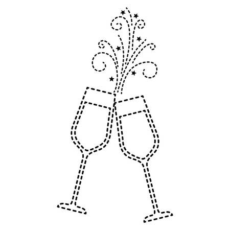 pair of champagne glass cheers drink sparkles vector illustration