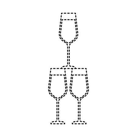 champagne glasses pyramid drink event celebration vector illustration Çizim