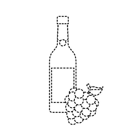fles wijn en tros druiven alcohol viering vector illustratie Stock Illustratie