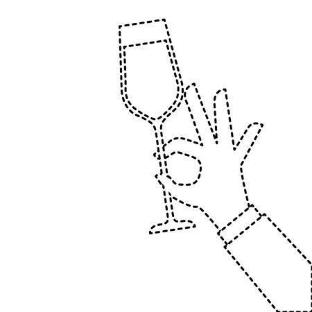 Mano che tiene il bicchiere di champagne acclamazioni illustrazione vettoriale celebrazione Archivio Fotografico - 90132939