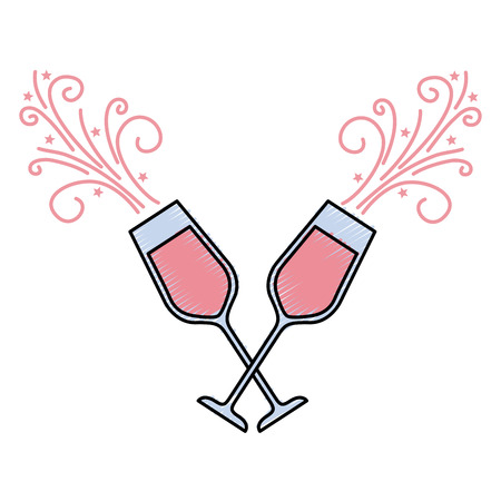 pair of champagne glass cheers drink sparkles vector illustration Imagens - 90132942