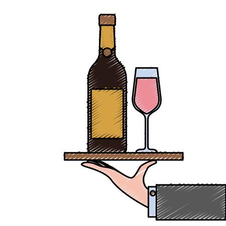kelner hand met dienblad met fles glas champagne voor service vectorillustratie