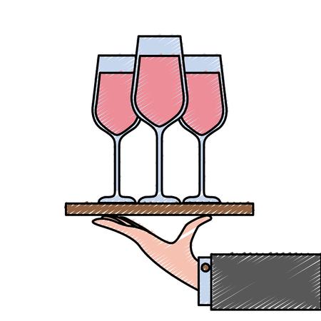 Mano sosteniendo la bandeja con la ilustración de vector de champagne vino servicio Foto de archivo - 90132944