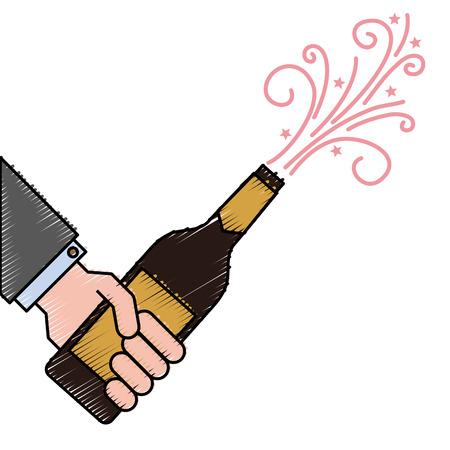 Hand hält Champagnerflasche Explosion Ereignis Vektor-Illustration Standard-Bild - 90132945