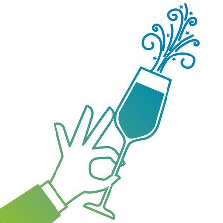 Mano sosteniendo ilustración de vector de celebración de aclamaciones de vidrio de champán Foto de archivo - 90132950