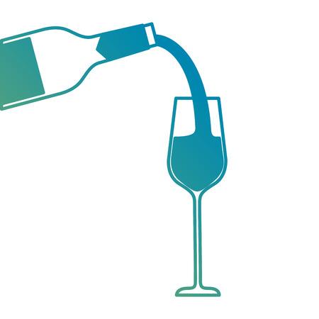 wijn gieten van fles in wijnglas vectorillustratie Stock Illustratie