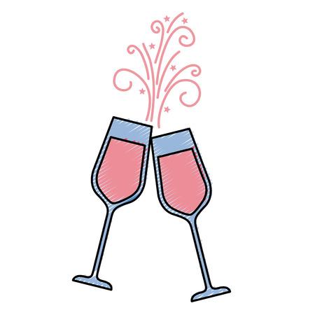 Paar Champagner Glas Prost Getränke funkeln Vektor-Illustration