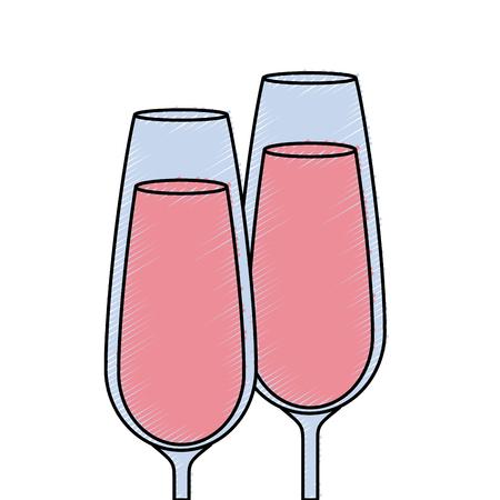 paar champagne glas proost drinkt viering vector illustratie