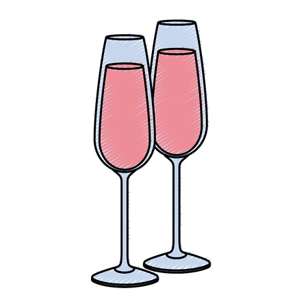 pair of champagne glass cheers drink celebration vector illustration Banco de Imagens - 90132960