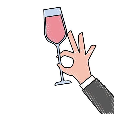 hand holding champagne glass cheers celebration vector illustration Illustration