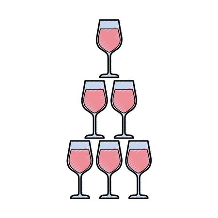 Pyramide der Glasflöte becher alkoholischer Champagnergetränk vector Illustration Standard-Bild - 90132971