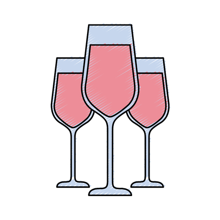 three glasses with champagne alcohol liquid celebration vector illustration Фото со стока - 90132974